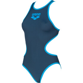arena One Biglogo One Piece Swimsuit Dames, shark/turquoise